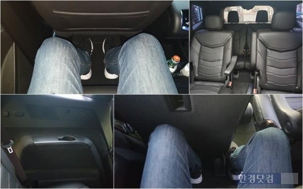 왼쪽 상단부터 시계방향으로 캐딜락 XT6의 2열 다리 공간, 2·3열 실내공간 모습, 3열 다리 공간, 3열 USB 단자와 송풍구, 컵홀더 모습. 사진=오세성 한경닷컴 기자