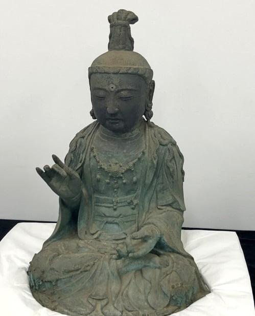 대전 국립문화재연구소에 있는 금동관음보살좌상. 사진=연합뉴스