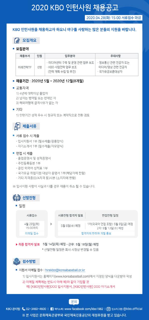 KBO, 미디어센터 인턴사원 공채…서류 마감 28일까지