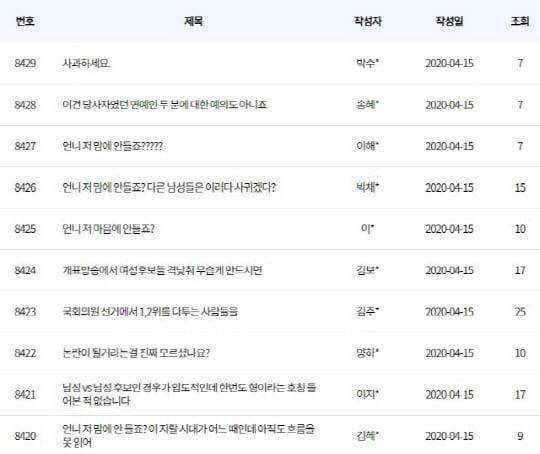 'MBC 개표 방송 '(사진=MBC 시청자 게시판)