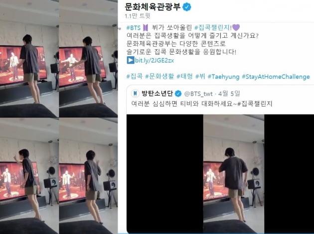 방탄소년단 뷔, 슬기로운 '집콕챌린지' 문체부도 '픽'했다