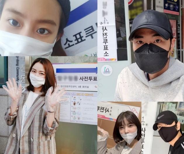 김강우, 유이, 이소연이 사전 투표 인증샷을 공개했다. / 사진제공=킹엔터테인먼트