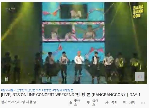 BTS의 '방방콘'이 동시 시청자수 200만명을 넘겼다. / 사진=유튜브 '방탄TV' 캡처