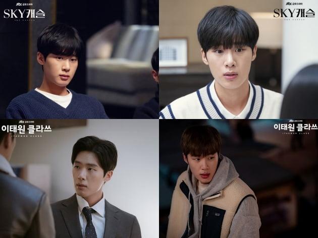 JTBC 드라마 'SKY 캐슬' 촬영 비하인드컷(위), JTBC 드라마 '이태원 클라쓰' 현장 스틸컷. /사진제공=JTBC