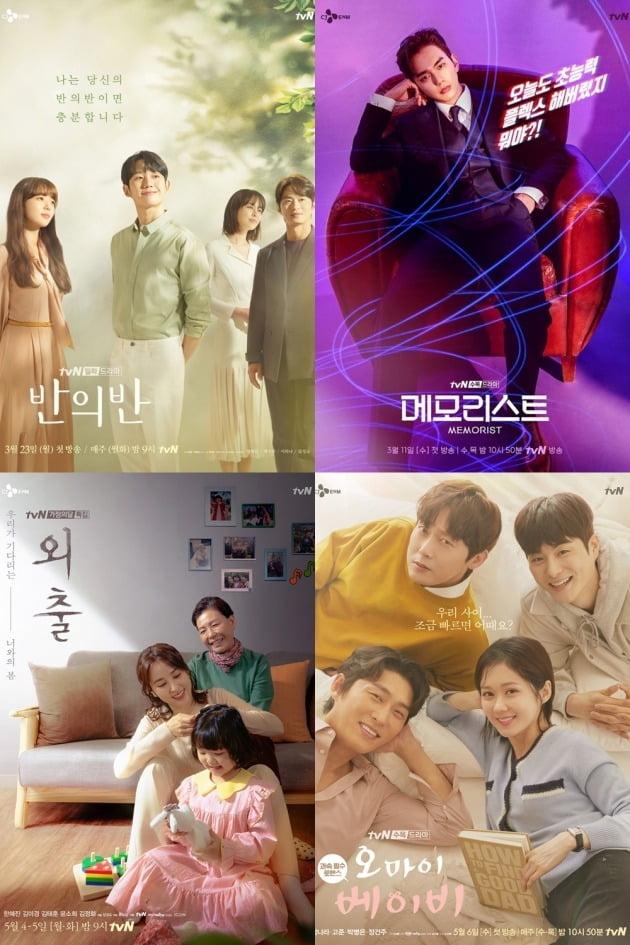 tvN 드라마 '반의반'(왼쪽 위부터 시계방향), '메모리스트', '외출', '오 마이 베이비' 포스터. /사진제공=tvN