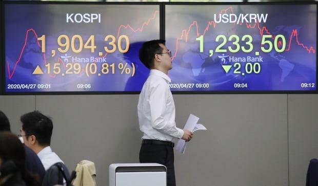 코스피가 27일 상승 출발해 장중 1900선을 넘어섰다. 서울 중구 을지로 하나은행 딜링룸에서 직원들이 업무를 보고 있다. /사진=연합뉴스