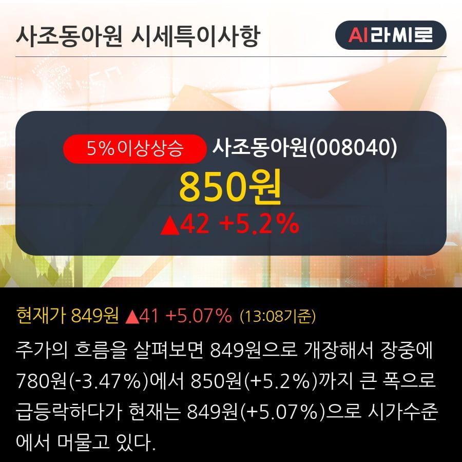 '사조동아원' 5% 이상 상승, 기관 4일 연속 순매수(1,840주)