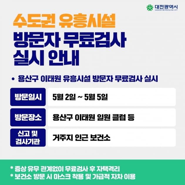 대전시는 서울 이태원 클럽발 코로나19 지역사회 감염 차단을 위해 지난 2일부터 5일 사이 이태원 유흥시설 방문자를 대상으로 무료 코로나19 검사를 실시한다고 밝혔다. /사진=대전시