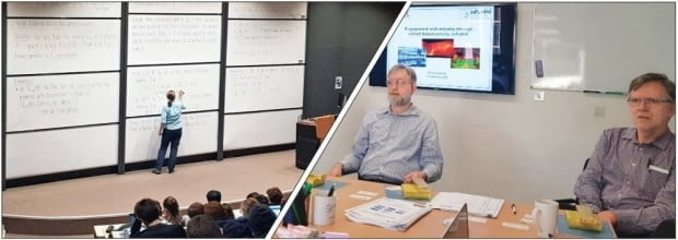 (1) 영국 옥스퍼드대 수학과의 수업 모습. (2) 기업 밀착형 연구에 대해 설명하는 마이크 가일스 옥스퍼드대 수학과 학과장(왼쪽). 이해성 기자