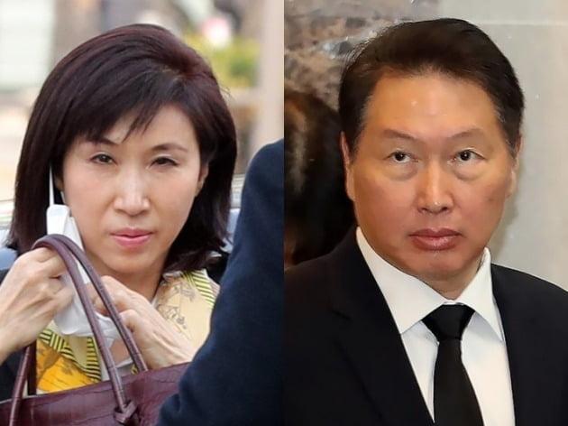 최태원 SK그룹 회장(우)과 노소영 아트센터 나비 관장(좌) [사진=연합뉴스]