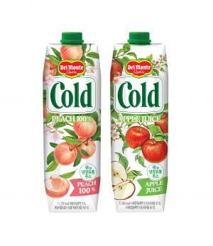 롯데칠성,  과즙 100% 냉장주스 델몬트 콜드 '복숭아'&'사과'출시