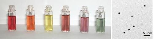 <그림2> 은 나노 입자가 분산된 수용액의 다양한 색(좌)과 은 나노 입자의 전자현미경 사진(우)