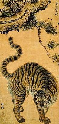 강세황과 김홍도가 함께 그린 '송하맹호도'. 노년의 스승이 그린 소나무 밑에 제자는 호랑이와 그 털을 정밀하게 그려 넣었다.