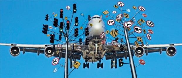 항공기 운항 경로 최적화에 깃든 수학의 역할을 표현한 그림.   LBW 제공