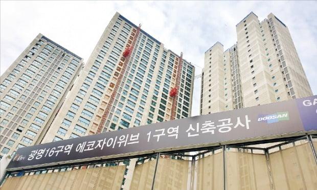 올해 11월 준공 예정인 광명뉴타운 16구역 '광명에코위브자이' 공사 현장   정연일 기자