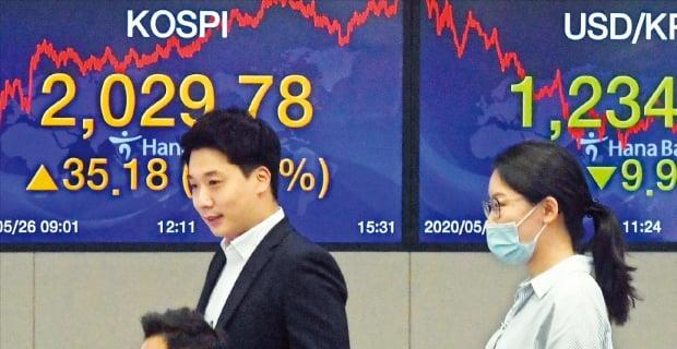 < 코로나 넘어선 코스피 > 코스피지수가 약 두 달 반 만에 종가 기준으로 2000선을 회복한 26일 서울 을지로 하나은행 딜링룸 직원들이 장 마감 후 전광판 앞에서 모니터를 보고 있다. 코스피지수는 1.76% 오른 2029.78에 거래를 마쳤다. 'V자 반등'을 주도해온 개인투자자들은 이날 4800억원가량 순매도(유가증권시장 기준)하면서 차익을 실현했다. 원·달러 환율은 9원90전 하락한 1234원30전에 장을 마감했다.    허문찬 기자 sweat@hankyung.com