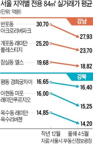 아리팍 9%↓ 마래푸 4%↓…대표단지 낙폭 컸다