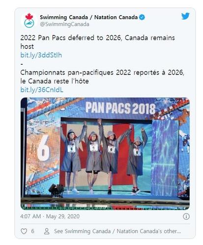 2022년 팬퍼시픽수영선수권, 코로나19 여파로 2026년 개최