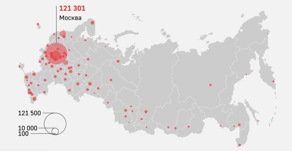 """러시아, 누적 확진자 세계 3위…""""열흘째 매일 1만명 이상"""""""