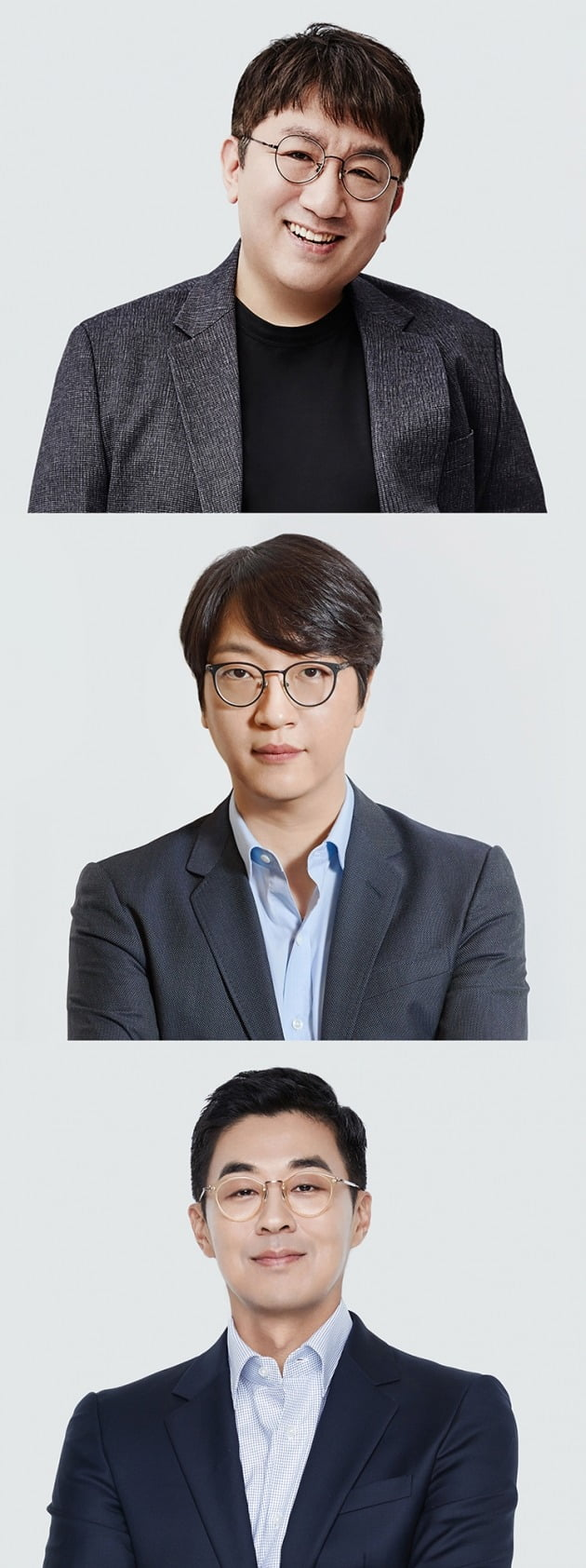 빅히트 엔터테인먼트 방시혁 의장(위부터), 윤석준 Global CEO, 박지원 HQ CEO./ 사진제공=빅히트 엔터테인먼트