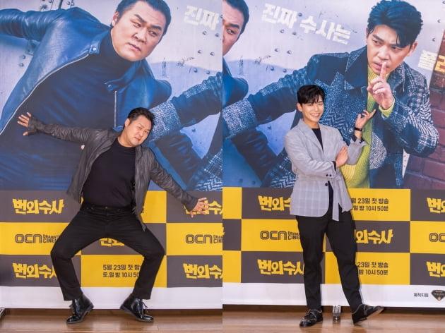 배우 윤경호(왼쪽)와 지승현은 '번외수사'에서 각각 작은 칵테일 바를 운영하는 테디 정으로, 탐정 탁원으로 분한다. /사진제공=OCN