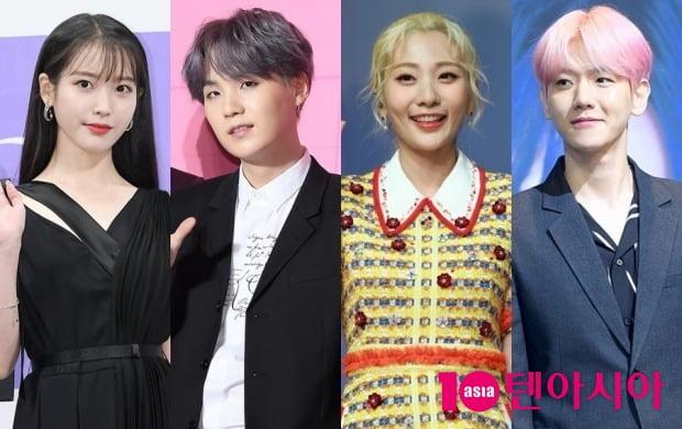 가수 아이유(왼쪽부터), 그룹 방탄소년단의 슈가, 볼빨간사춘기 안지영, 그룹 엑소의 백현 / 사진=텐아시아DB