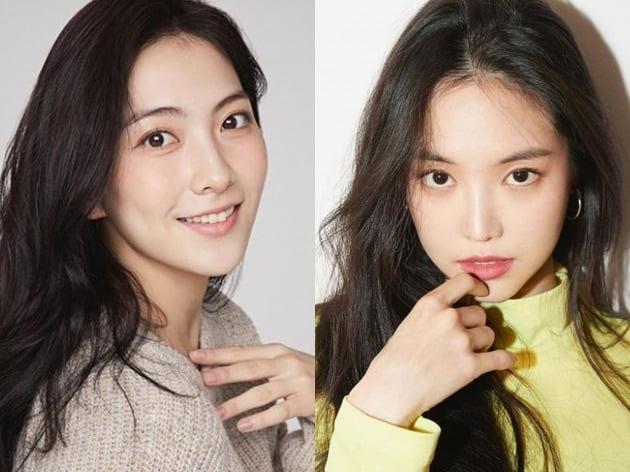 그룹 카라 출신 배우 강지영(왼쪽)과 그룹 에이핑크의 손나은. /사진제공=각각 SNS