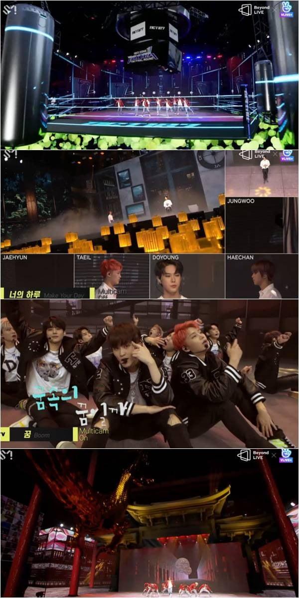 NCT 127 '비욘드 라이브' 중 '펀치'(위부터), '너의 하루', '꿈', '영웅' 무대 캡처.