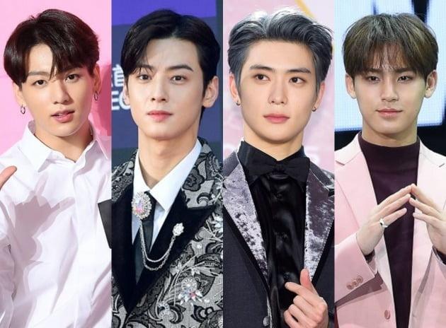 그룹 방탄소년단 정국(왼쪽부터), 아스트로 차은우, NCT 재현, 세븐틴 민규./ 텐아시아 DB