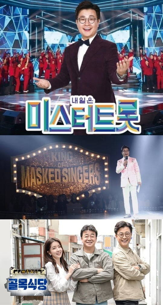 김성주가 맡은 프로그램 '미스터트롯'(위부터), '복면가왕', '골목식당'/ 사진=각 방송사 제공