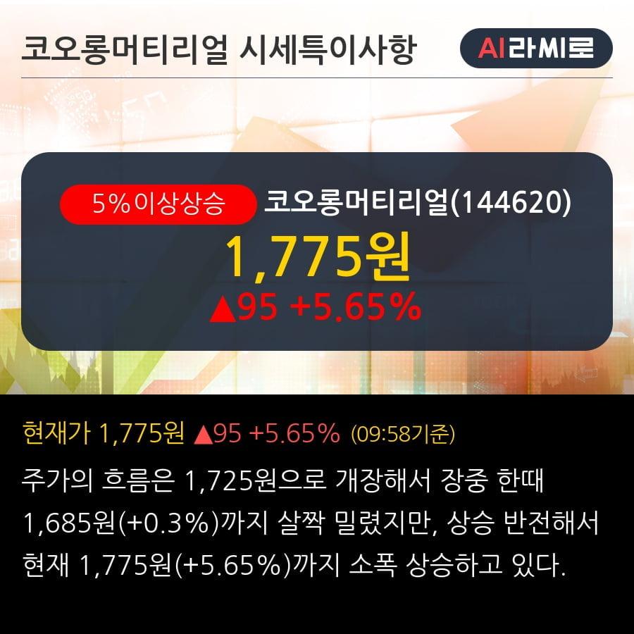 '코오롱머티리얼' 5% 이상 상승, 전일 외국인 대량 순매수