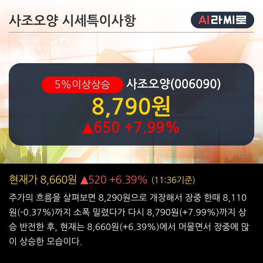 '사조오양' 5% 이상 상승, 주가 상승세, 단기 이평선 역배열 구간