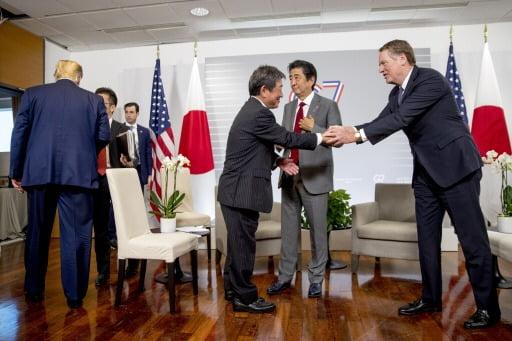작년 G7에서 열린 미일양자회담 모습. AP연합뉴스