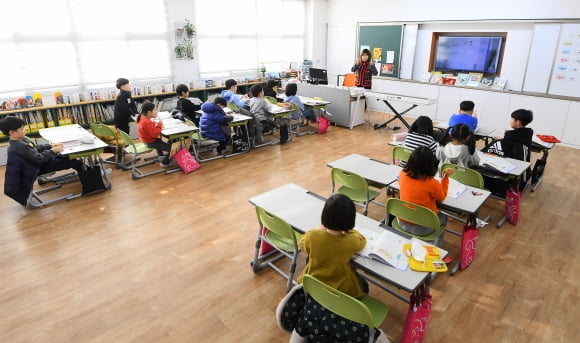 지난해 12월 서울 중화동 중흥초등학교에서 1학년 학생들이 수업을 하고 있다. 한경DB