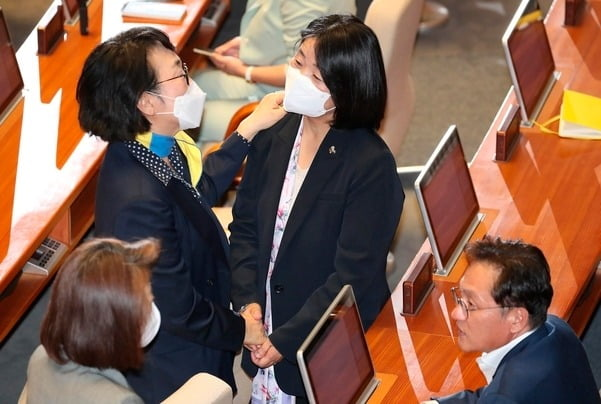 21대 국회가 개원한 5일 더불어민주당 윤미향 의원이 열린민주당 김진애 의원과 인사를 하고 있다./연합뉴스