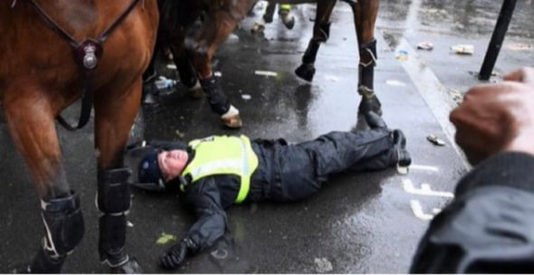런던에서 흥분한 시위대의 공격을 받아 쓰러진 영국 경찰. 트위터 캡처