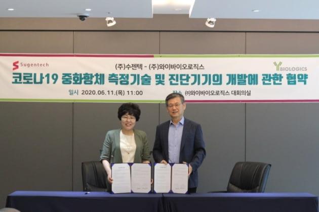 11일 손미진 수젠텍 대표(사진 왼쪽)와 박영우 와이바이오로직스 대표(오른쪽)가 '코로나19 중화항체 정량 검사키트' 개발을 위한 협약을 체결한 뒤 기념사진을 찍고 있다. 수젠텍 제공