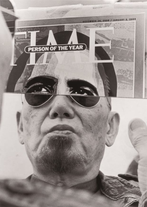 '넌센스의 미학'을 추구했던 곽덕준의 '오바마와 곽'(2009년). 1974년부터 미국 대통령 선거때마다 시사주간지 '타임' 표지에 실린 당선자 얼굴과 작가의 얼굴을 합성한 듯 연출한 사진이다. 갤러리현대 제공