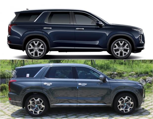 팰리세이드 기존 모델과 캘리그래피 트림 측면 비교. 투톤이던 색상이 원톤으로 바뀌었고 휠 디자인도 달라졌다.