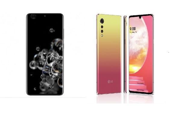 '갤럭시S20 울트라' 코스믹 블랙(왼쪽)과 'LG 벨벳' 일루전 선셋(오른쪽)/사진제공=삼성전자, LG전자