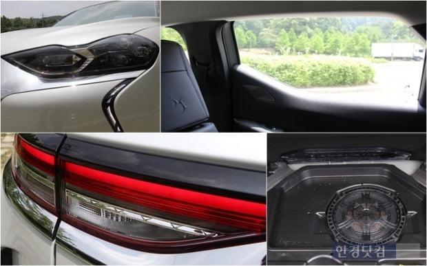 DS3 크로스백의 전조등과 샥스핀 디자인이 적용된 뒷좌석 시야. 트렁크 하단에는 포칼의 우퍼가 숨어있고 후미등은 세밀한 세공이 되어있다. 사진=오세성 한경닷컴 기자