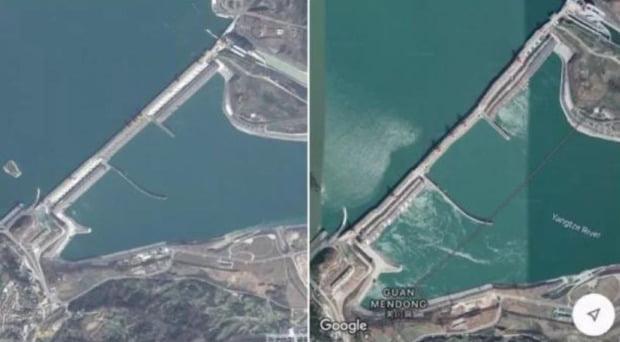 작년에 퍼진 샨샤댐 위성 사진. 사진=바이두 캡쳐