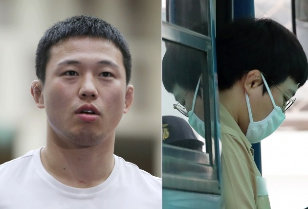 미성년자 성폭행 혐의를 받는 올림픽 은메달리스트 출신 전 유도 국가대표 왕기춘 씨. 26일 첫 재판을 받은 그(오른쪽)는 현역 시절(왼쪽)에 비해 부쩍 체중이 늘어난 모습이 포착됐다. / 사진=연합뉴스 및 뉴스1