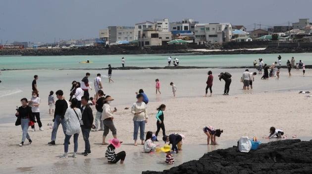 바닷가에서 마스크는 쓴 채 휴가를 즐기는 관광객들 모습 [사진=뉴스1]