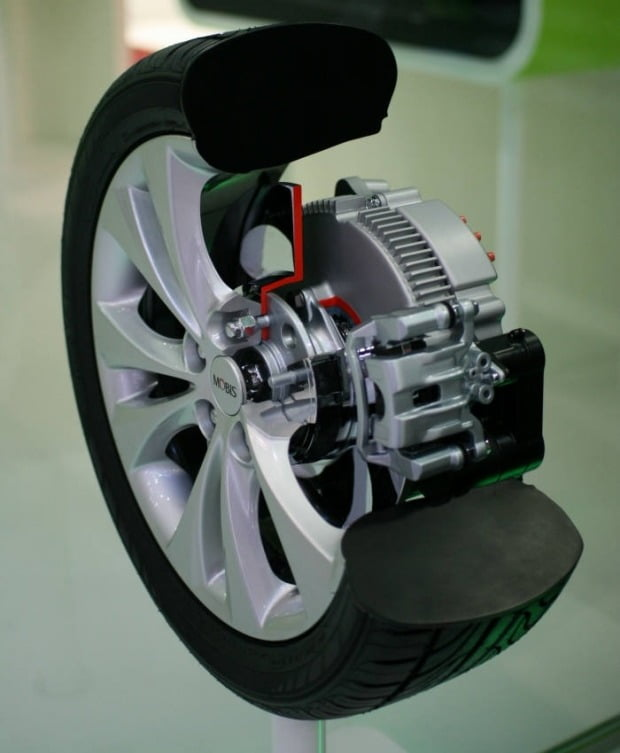 현대모비스가 개발해 CES에서 공개했던 인휠 모터 모습. 사진=현대모비스