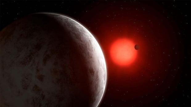 과학자들이 지구에서 11광년 떨어진 붉은 난쟁이별인 글리제 887을 도는 행성들 가운데 생명체가 살 수 있을 만한 행성들을 발견했다. 사진은 글리제 887과 행성들을 상상해서 그린 이미지 그림이다.  로이터연합뉴스