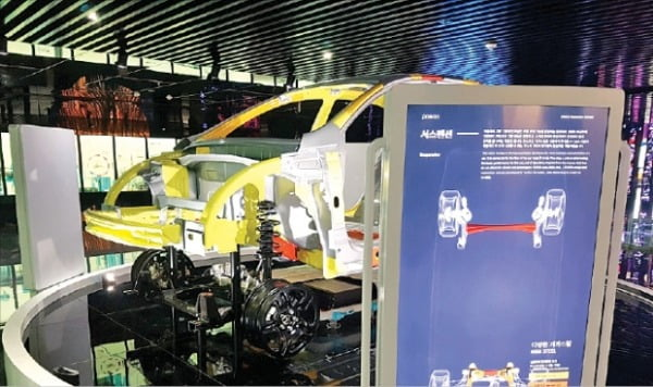 포스코의 기가스틸을 적용한 전기차 프레임.  포스코 제공