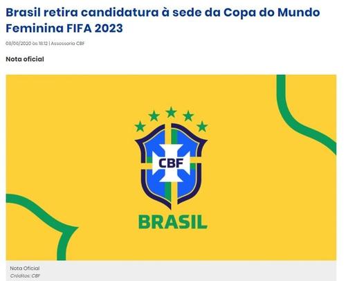 브라질, 2023 FIFA 여자월드컵 유치 신청 철회…코로나19 여파