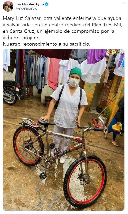 자전거로 물살 가르던 볼리비아 간호조무사에게 찾아온 선물