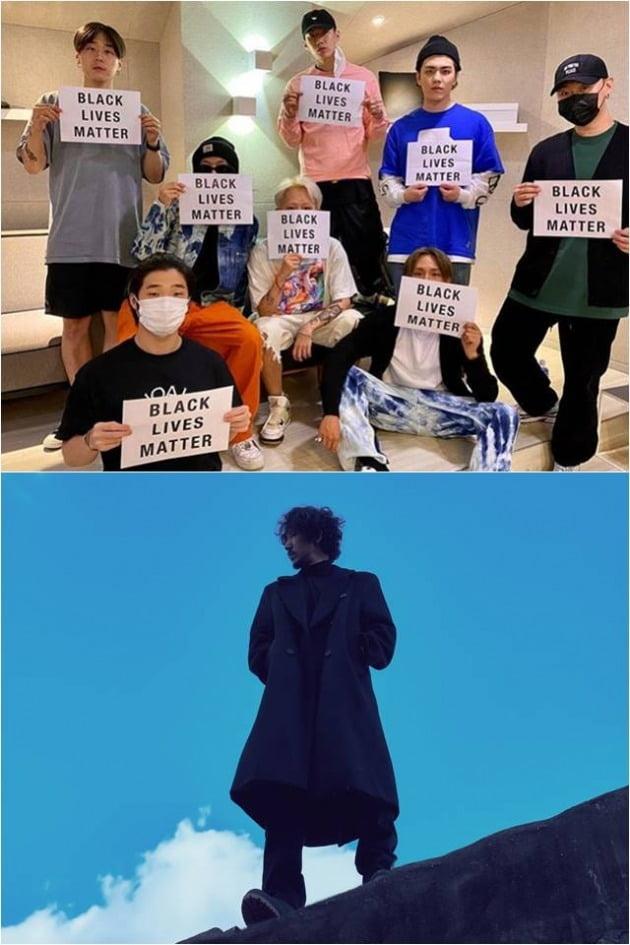 하이어뮤직 소속 아티스트들(위), 타이거JK./ 사진제공=박재범 인스타그램, 필굿뮤직